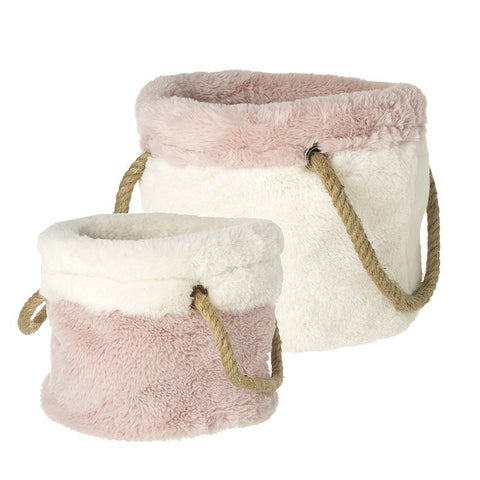 Fabric & Fur Basket with Rope Handles - White Lg 8177
