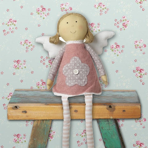 Sitting Pink Angel Doll with Flower Dress 8885