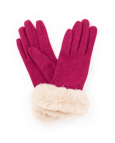 Powder Wool Gloves - Tamara in Fuchsia 9426