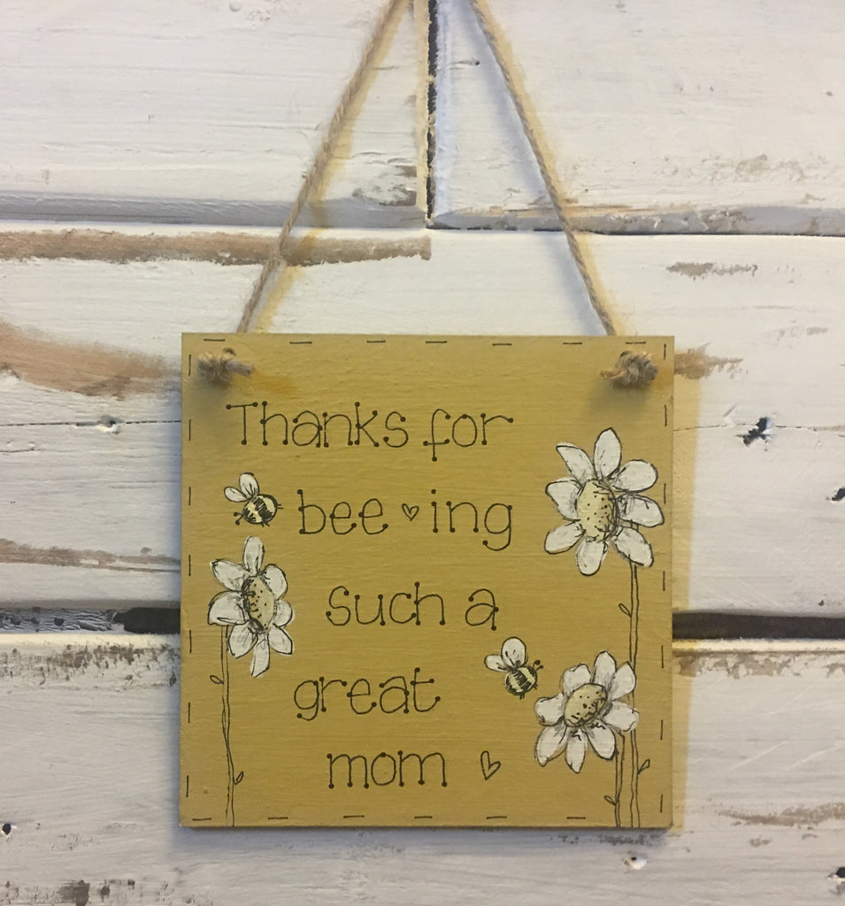 Bees & Daisies Mini Square Plaque -Thanks for Bee-ing... (Also available BLANK) 8630