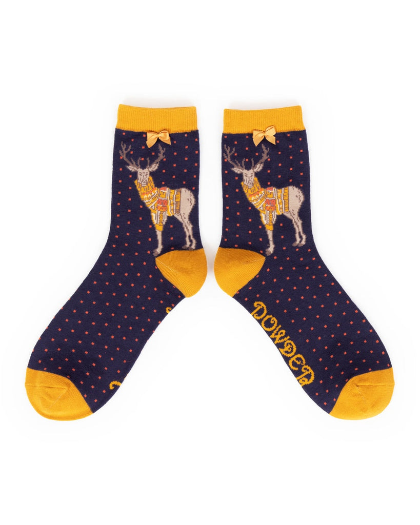 Powder Ankle Sock - Jumper Stag in Navy 9177