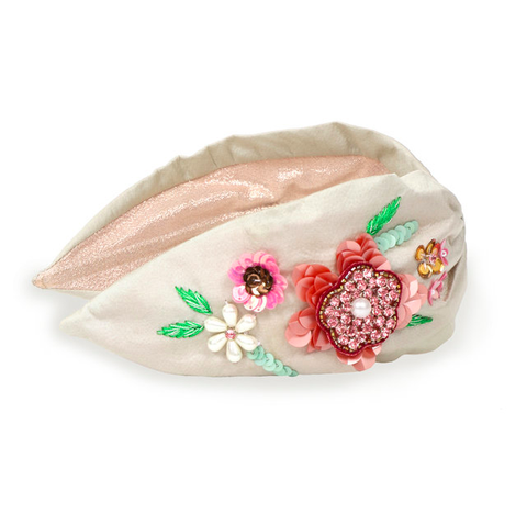 Powder Headband - Embroidered Floral in Champagne 9769