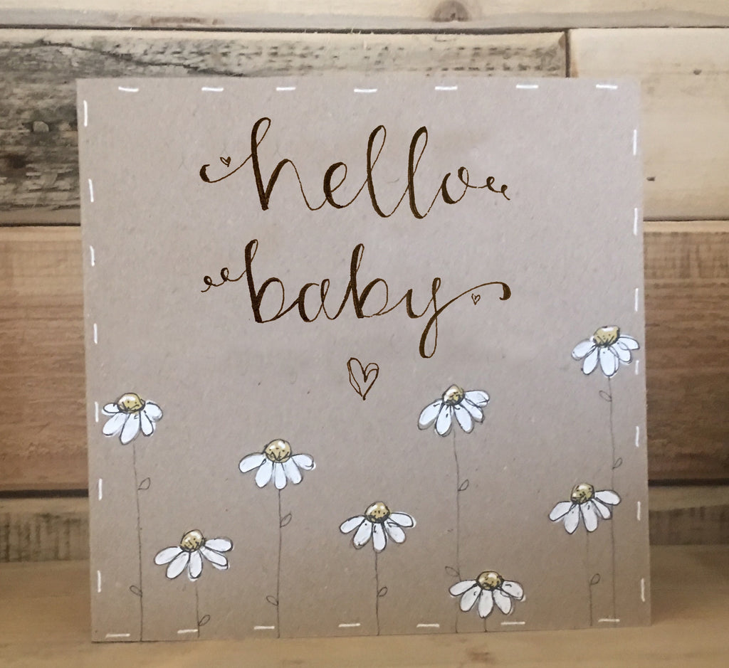 Handmade Little Daisies Card - Hello Baby 9901