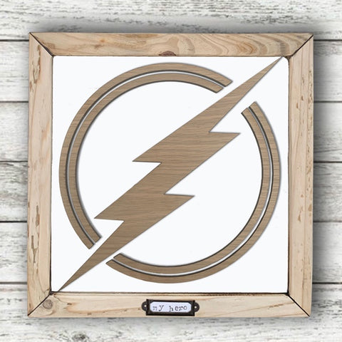 Handmade Lg Framed Superhero Sign - Flash 9988