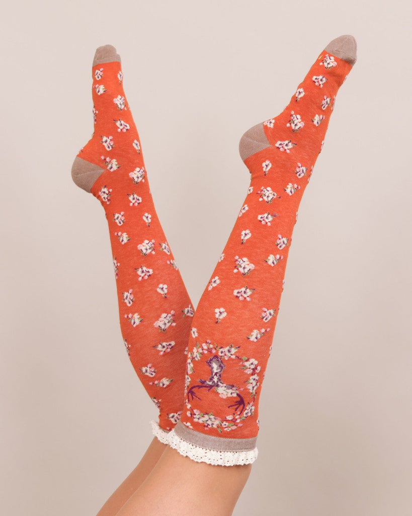Powder Long Sock - Stag in Tangerine 8153