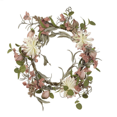 Large Pink & White Flower Wreath 9028