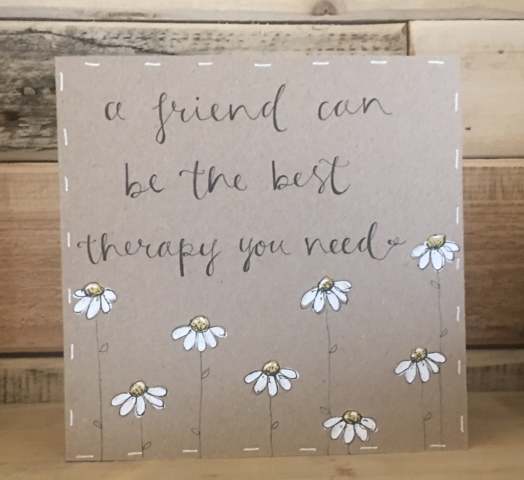 Handmade Little Daisies Card - Friend Best Therapy 9898