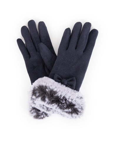 Powder Phillipa Faux Suede Gloves in Navy 8212