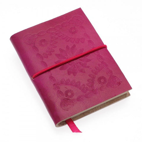 Sm Fuchsia Embossed Leather Journal 8259