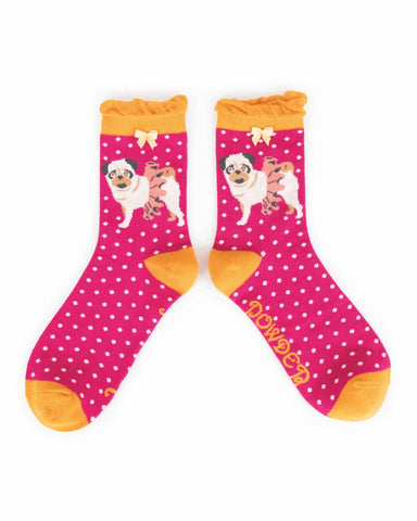 Powder Ankle Sock - Ballet Pug in Fuchsia 8610