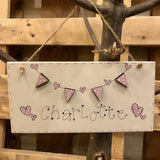 Name Plaque with Wooden Bunting 9356