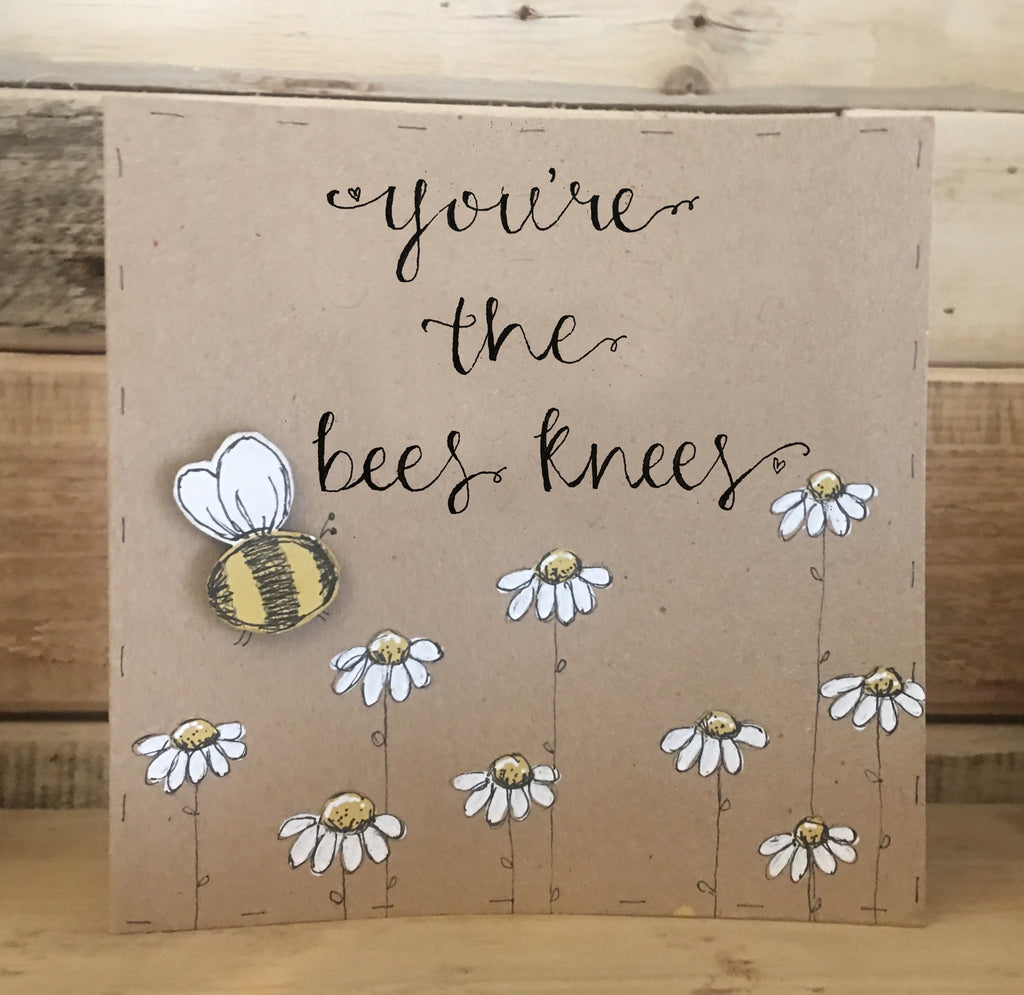 Handmade Bees & Daisies Card - The Bees Knees 9912