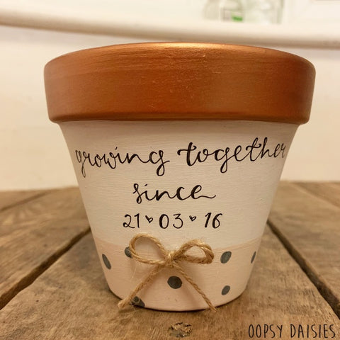 Personalised Plant Pot Sm - Gold Metallic 10856