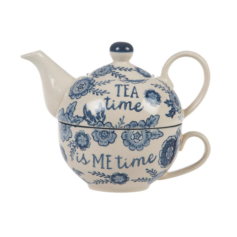 Blue Willow Floral Teapot for One 7457