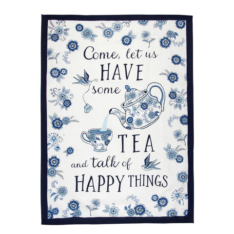 Blue Willow Floral Tea Towel 7455