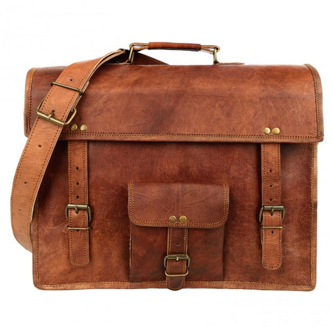 Large Brown Vintage Leather Satchel with Pocket 7526