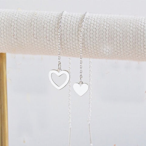 Thread Throw Mismatched Heart Earrings in Silver 11220