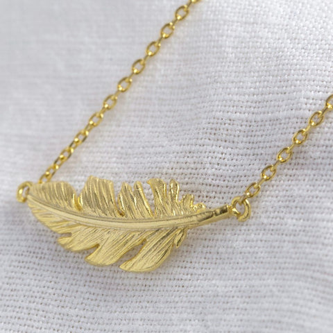 Gold Feather Necklace 11224