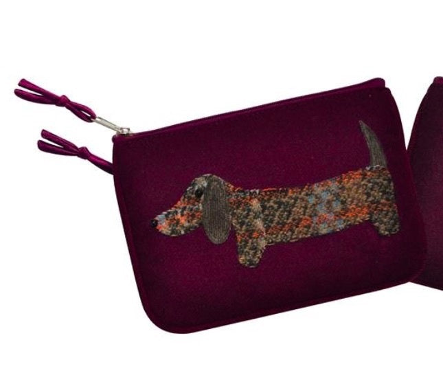 Earth Squared Applique Wool Animal Purse - Plum Dog 6404