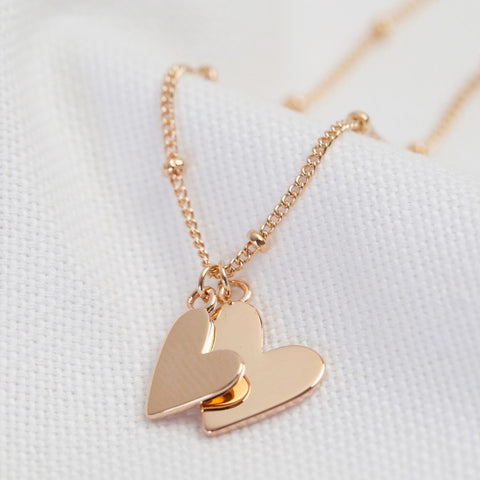 Falling Double Hearts on Satellite Chain Necklace in Rose Gold 11232