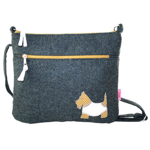 Lua Applique Messenger Bag - Herringbone Scottie in Teal 9398
