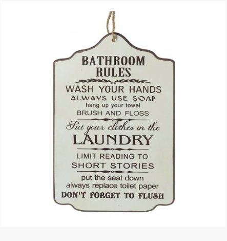Bathroom Rules Plaque 10249
