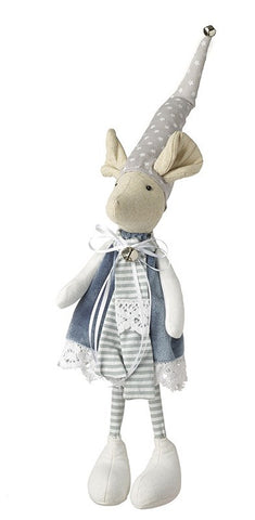 Fabric Standing Grey Mice in Hat 8195