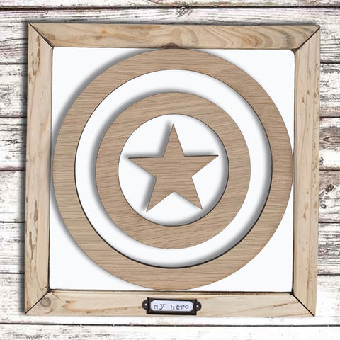 Handmade Lg Framed Superhero Sign - Captain America 9984