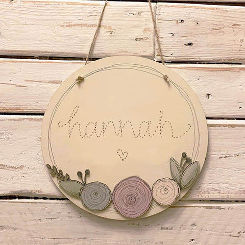 Personalised Round Plq with Round Flowers - Stitched Name 9824