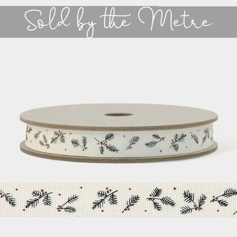 Ribbon by the Metre - Cream Berry Branch 10589