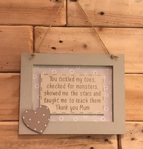 Personalised Wooden Frame Sign - You Tickled my Toes 8701