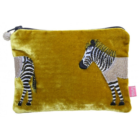Lua Applique Velvet Coin Purse - Zebra in Mustard 9399