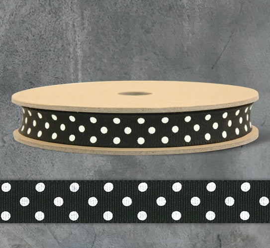 Ribbon by the Metre - Black with Cream Dots 9167