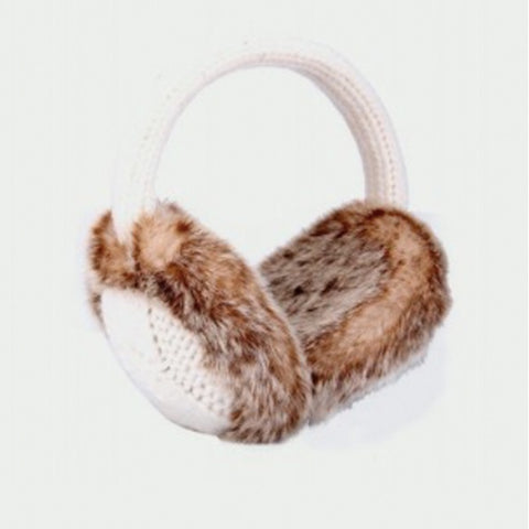 Knitted Ear Muffs with Natural Fur - Cream 10789