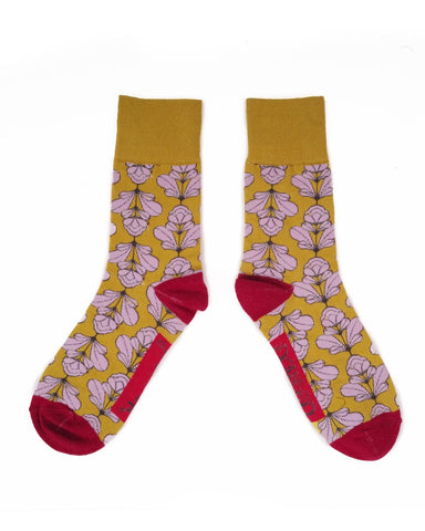 Men's Socks - Deco Floral on Ochre 11108