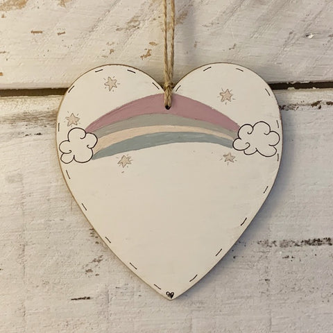 Personalised Rainbow Heart Plq 9913