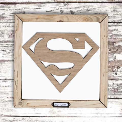 Handmade Lg Framed Superhero Sign - Superman 9985