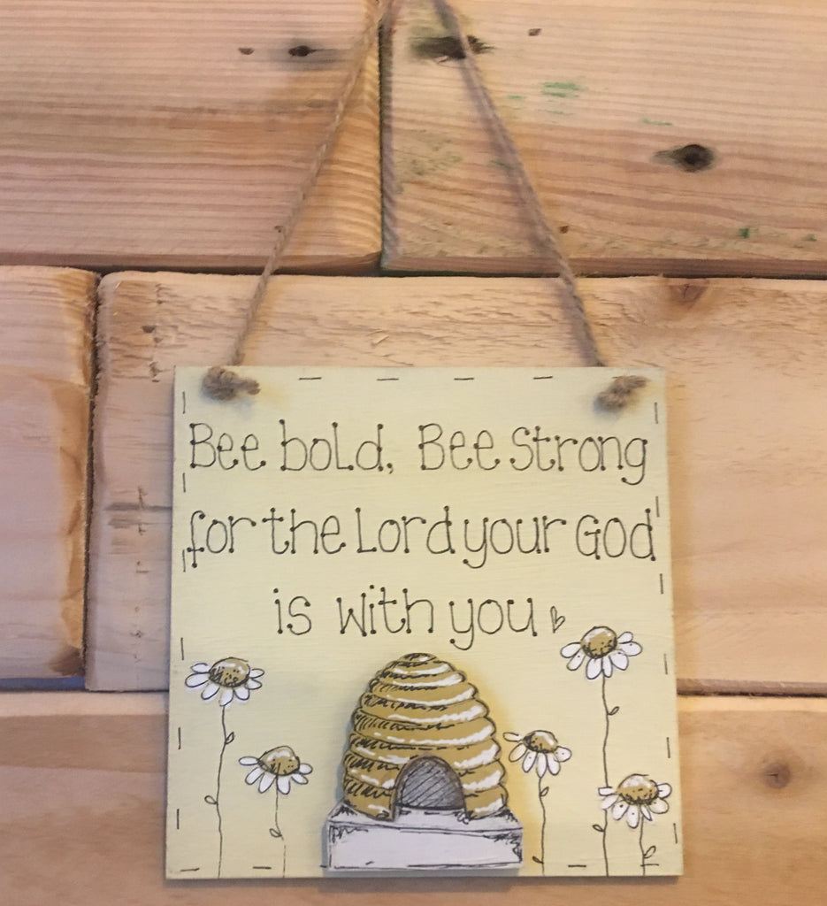 Bees & Daisies Mini Square Plaque -Bee Bold, Bee Strong (Also available BLANK) 8629