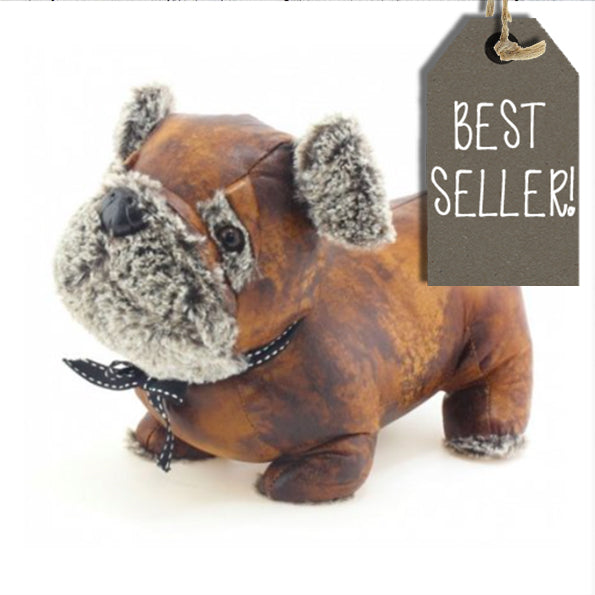 Pug Doorstop Faux Leather 9563