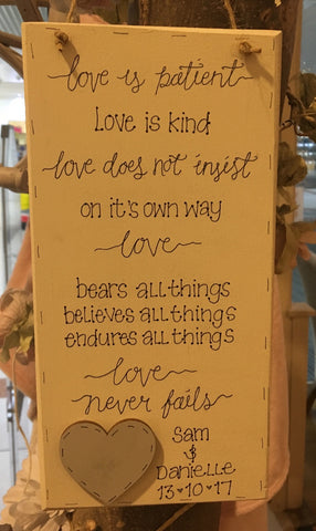 Long Picture Plaque - Love is Patient 7534