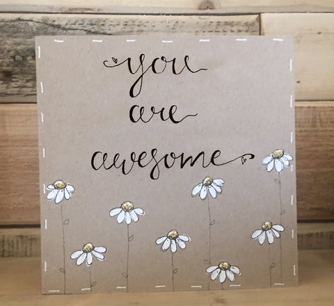 Handmade Little Daisies Card - You are Awesome 9900