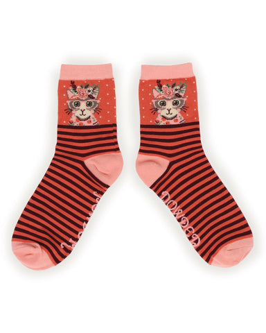Powder Ankle Sock - Floral Pussy in Specs in Coral 9759