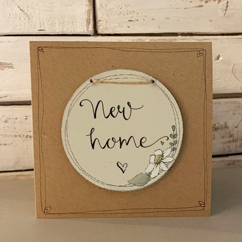 Handmade Daisy Round Plq & Card Set - New Home 9948