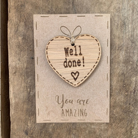 Handmade Little Sentiment Heart & Card - Well Done 10323