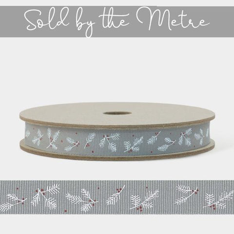 Ribbon by the Metre - Grey Berry Branch 10590