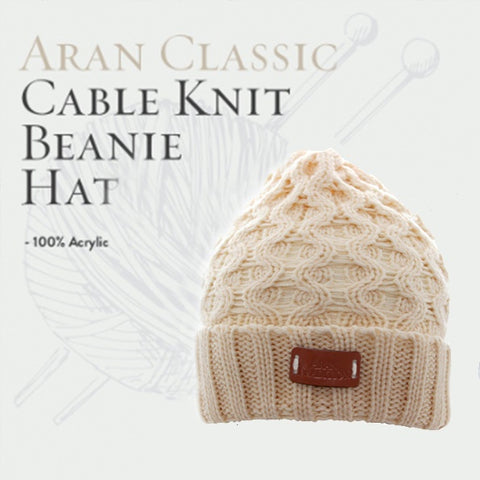 Aran Classic Cable Knitted Beanie Hat -  Oatmeal 10756