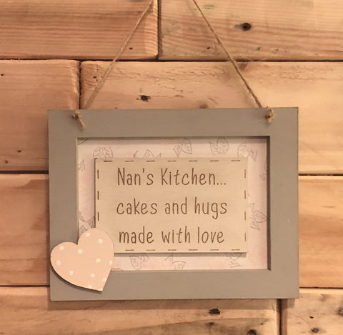 Personalised Wooden Frame Sign -Nan's Kitchen 8697