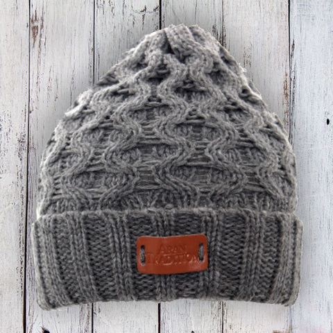Aran Classic Cable Knitted Beanie Hat - Steel Grey 10757