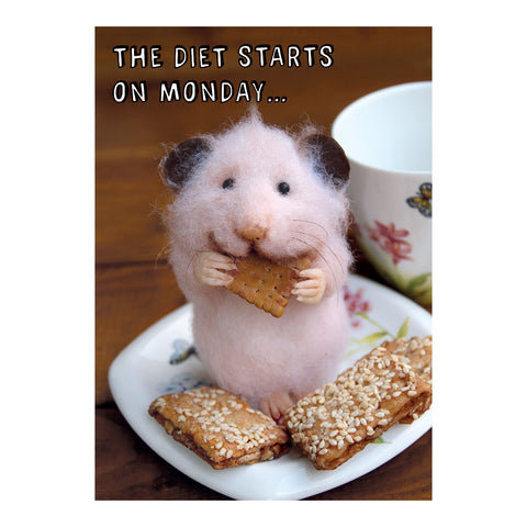 Tiny Squee Mousies Card - The Diet Starts on Monday 8119
