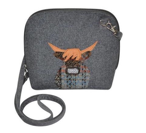 Earth Squared Applique Wool Animal Messenger Bag - Grey Cow 6397